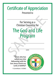 Picture of God & Life Counselor Certificate