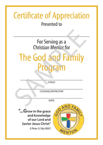 Picture of God & Family Mentor Certificate