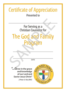 Picture of God & Family Counselor Certificate