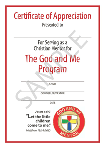 Picture of God & Me Mentor Certificate