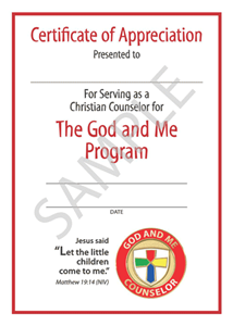 Picture of God & Me Counselor Certificate