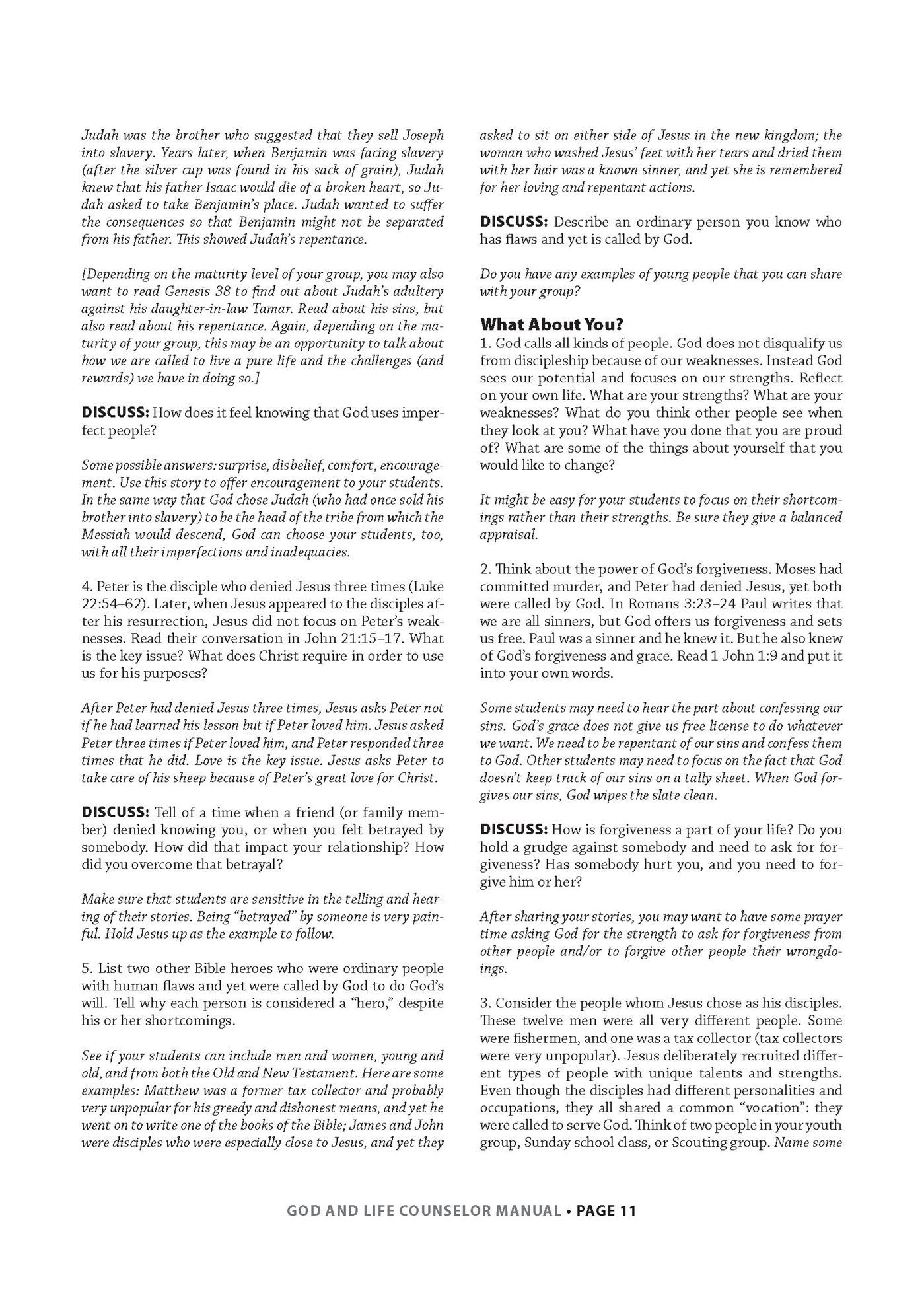 God & Life Counselor/Teacher Manual (Required)