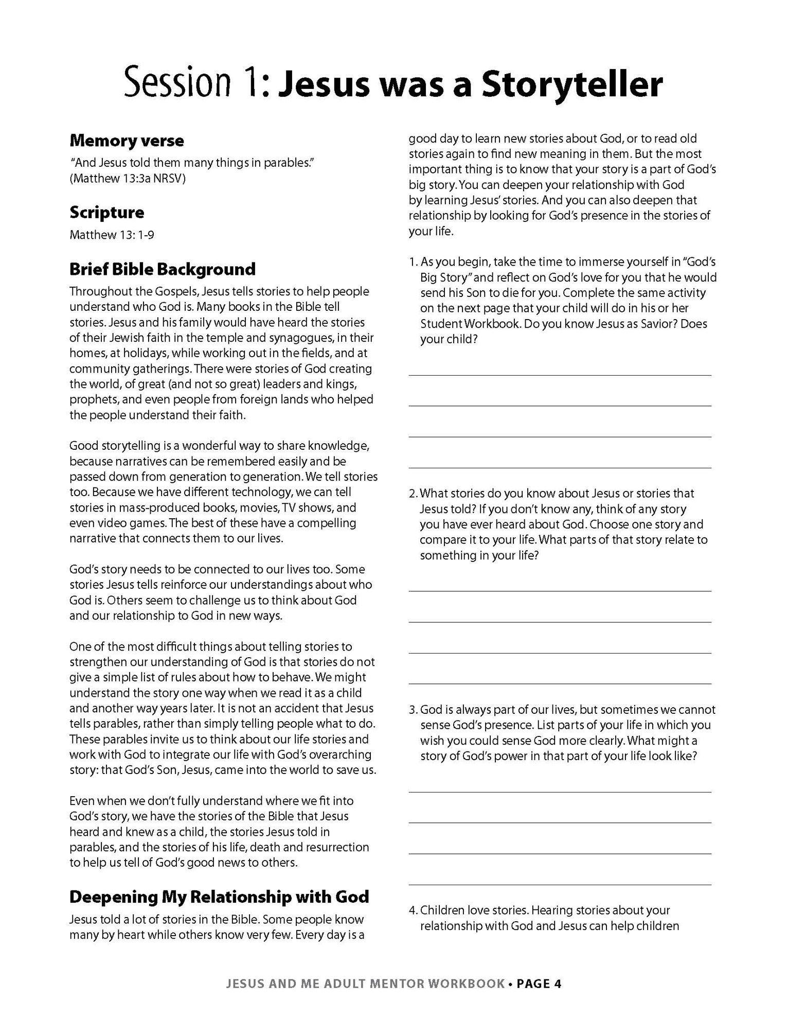 Jesus & Me Mentor Workbook Lesson 1 Page 1