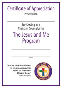 Jesus and Me Counselor Certificate