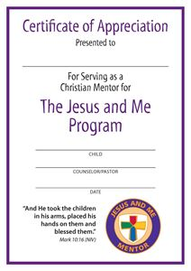 Jesus and Me Mentor Certificate